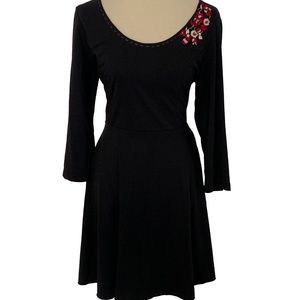 Nick & Mo Anthro Embroidered Fit & Flare Dress
